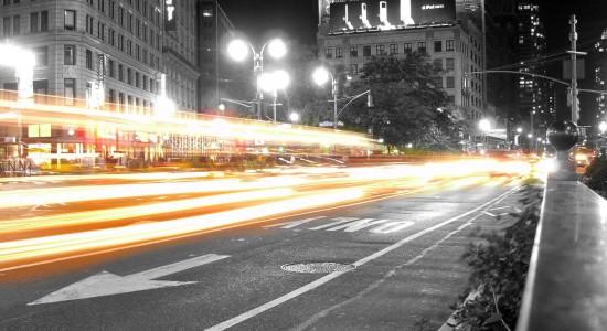Car light streak city wallpaper