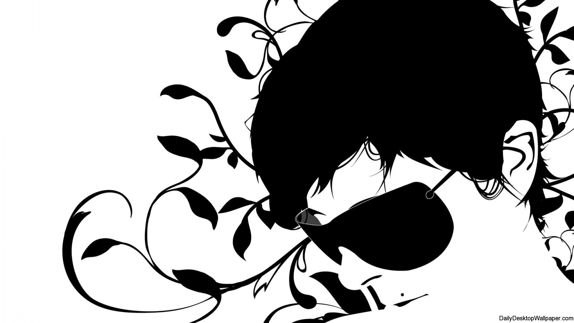 Black and white face illustration