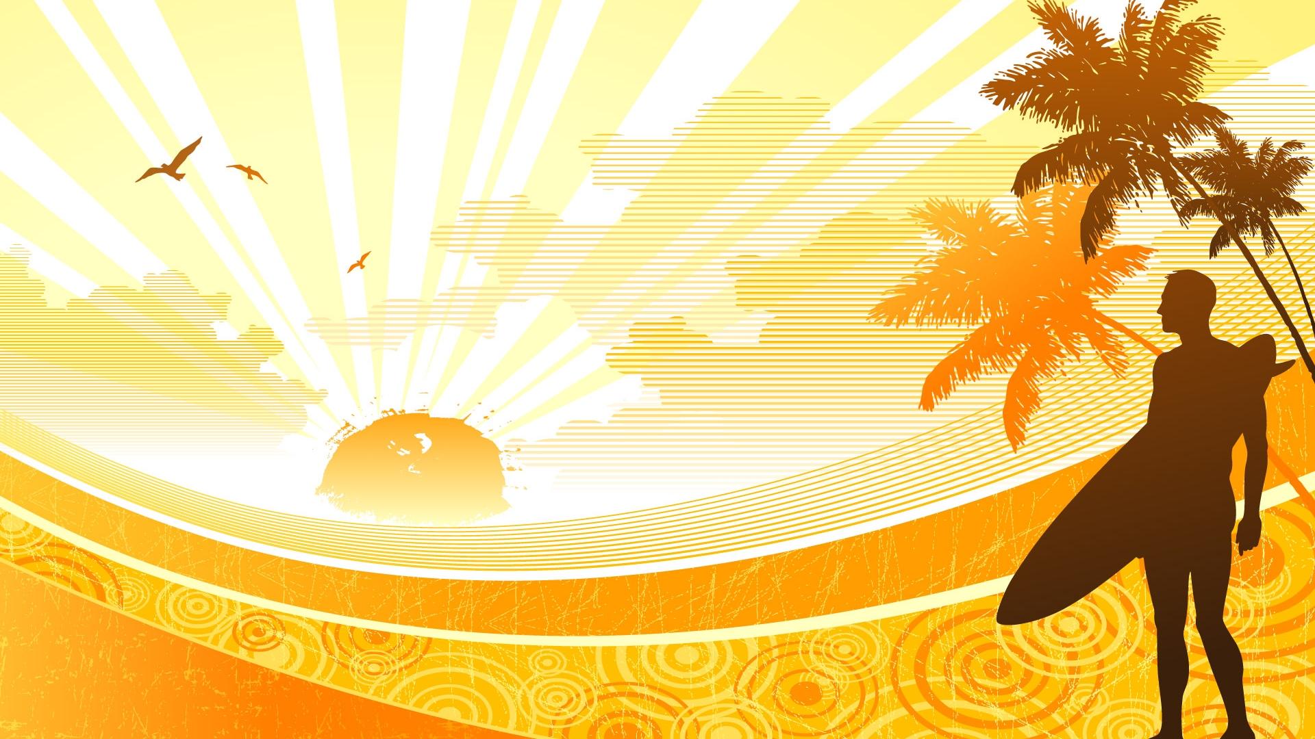Cartoon Vector Surf Wallpaper