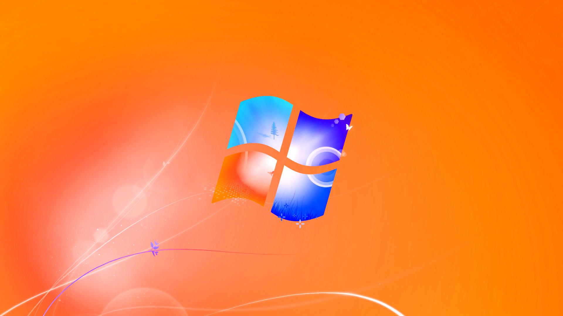 Orange Windows Logo Wallpaper