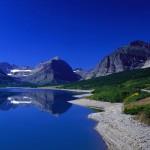 Mountain top lake wallpaper