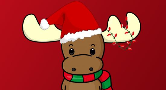 Happy Chirstmas Reindeer with Hat Wallpaper