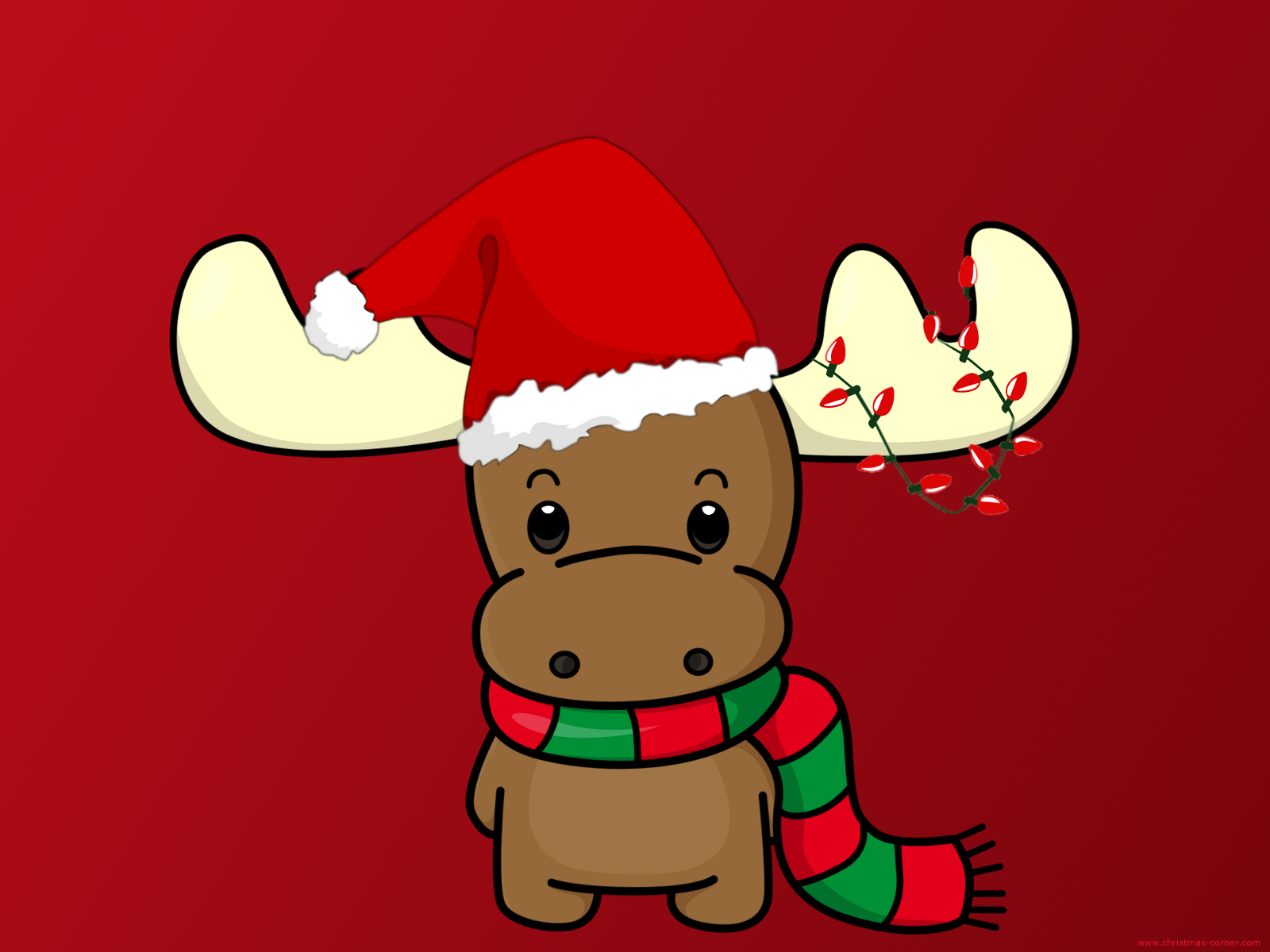 Happy Christmas Reindeer with Hat Wallpaper