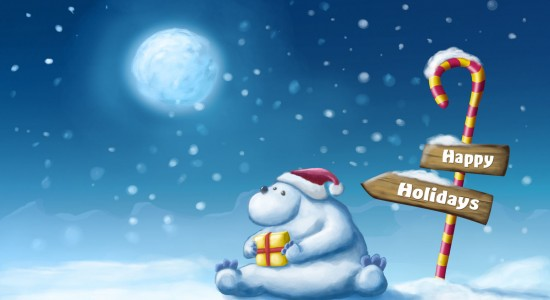 Happy Christmas Bear Wallpaper
