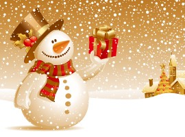 Happy Christmas Snowman Wallpaper