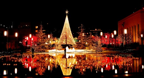 Magical Reflective Christmas Tree Wallpaper