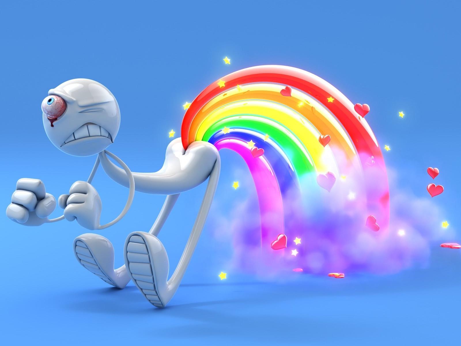 3D HD Funny Rainbow Wallpaper