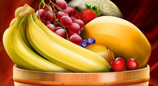 Healthy HD Fruit Basket Wallpaper