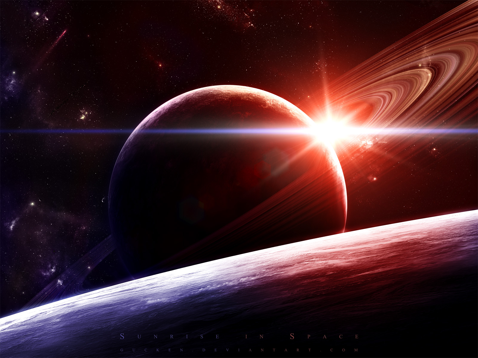 beautiful sunrise and space - photo #10