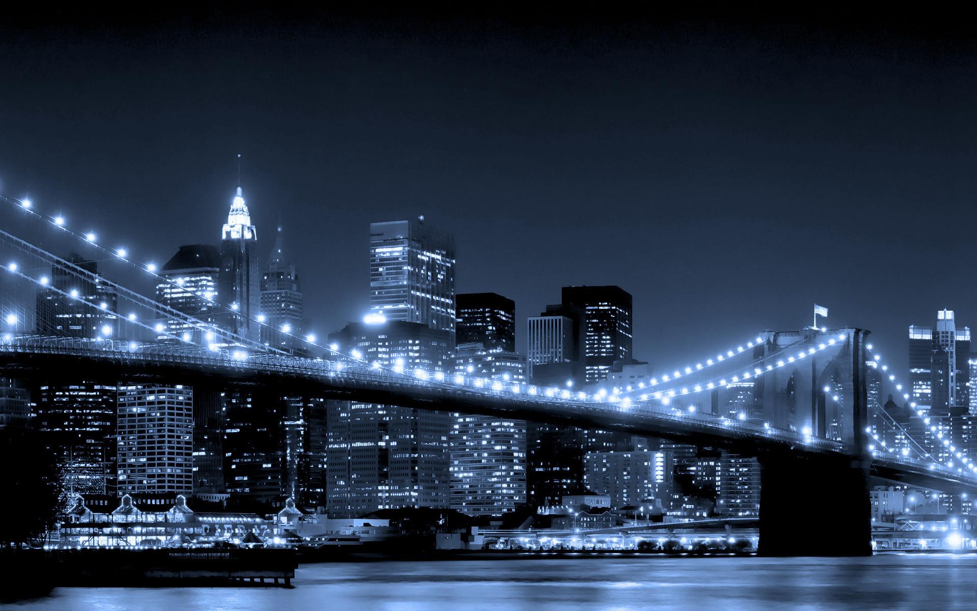 Illuminated Bridge at Night