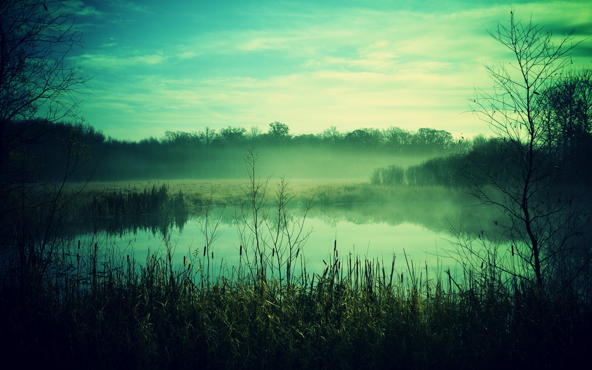 Misty Green Secluded Lake