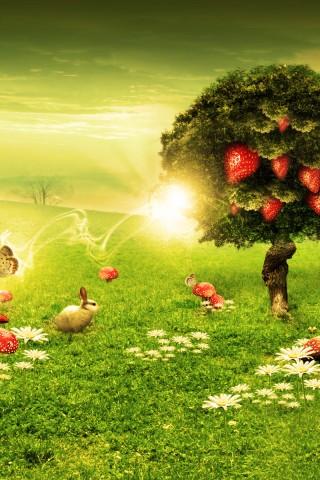 Strawberry tree wallpaper HD iPhone Wallpaper 320x480 ...