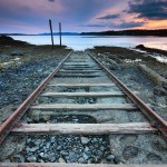Railway into sea wallpaper