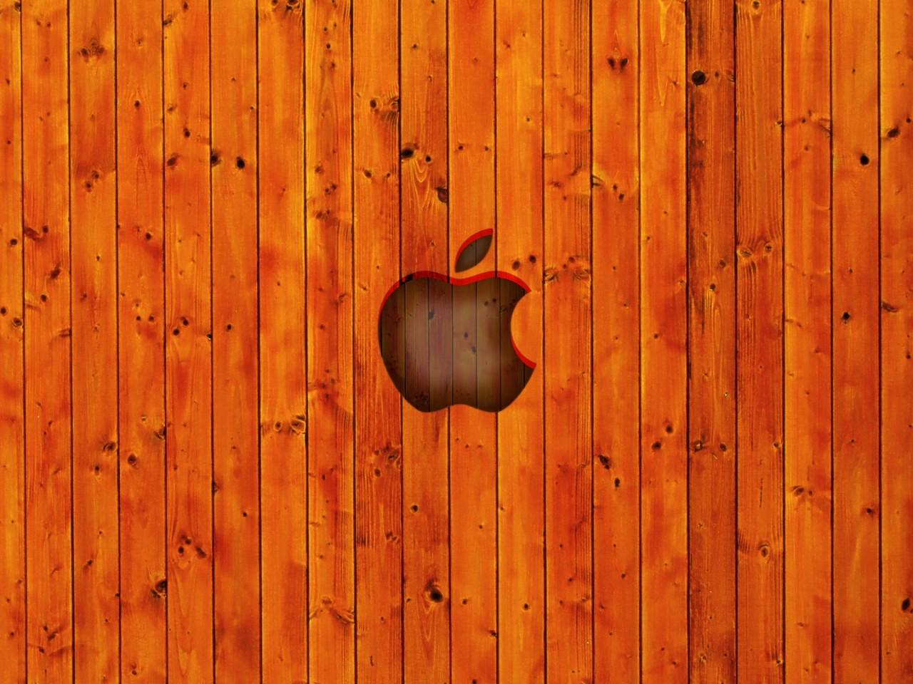 apple wooden wallpaper - hd wallpapers