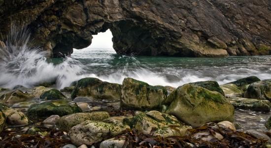 Splashing against the rocks
