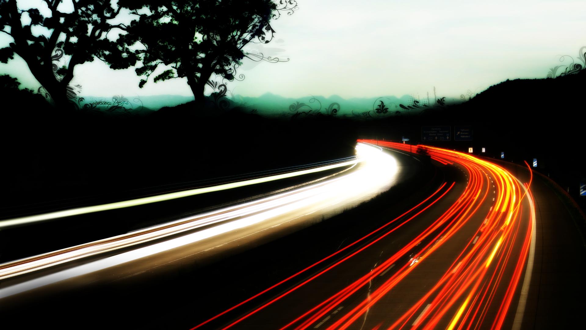 Motorway lights wallpaper