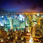 Brightly lit city wallpaper