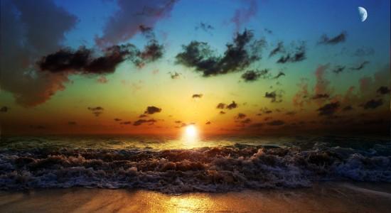Sunset, San and Sea Nature Wallpaper