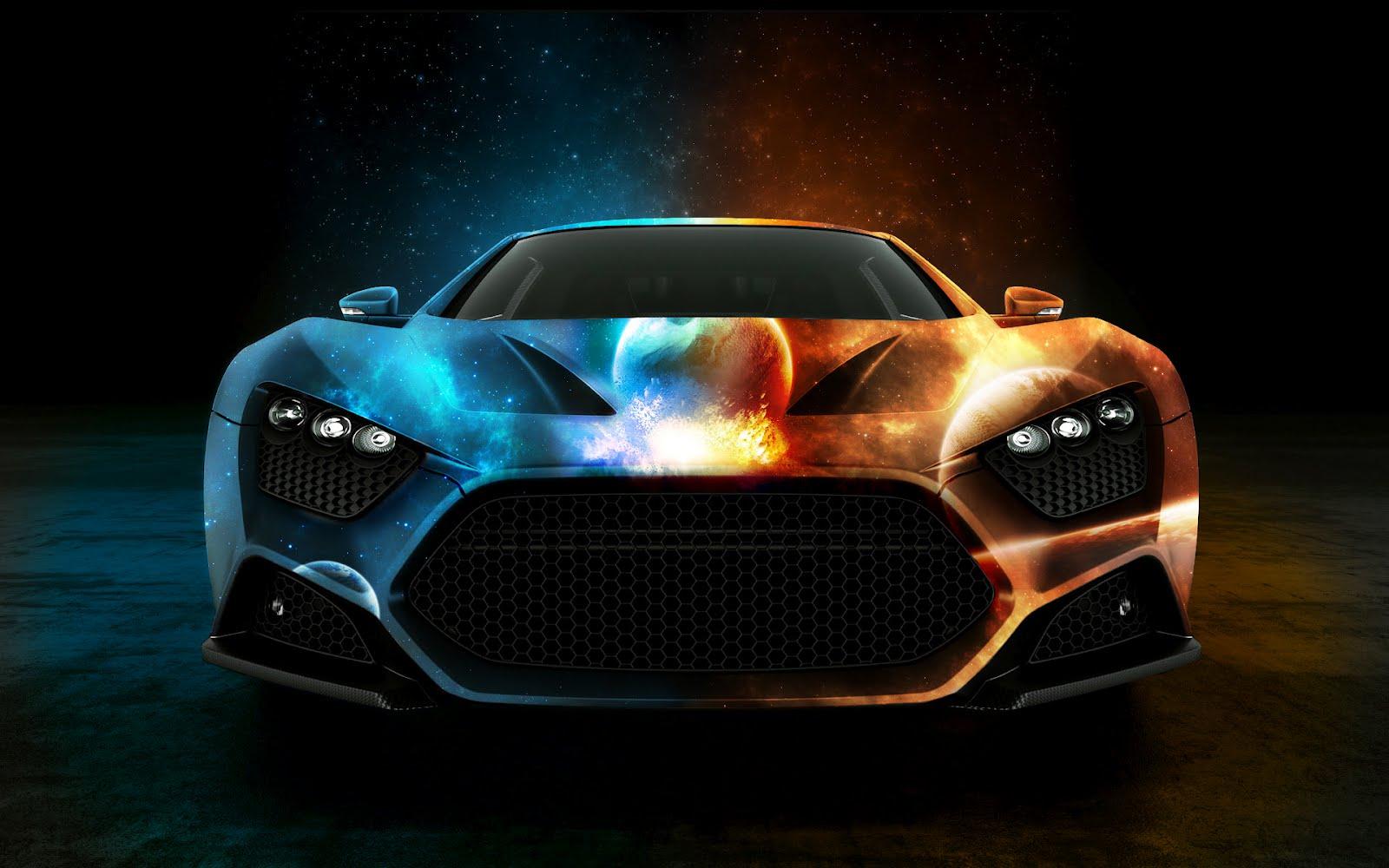 Colourful sports car