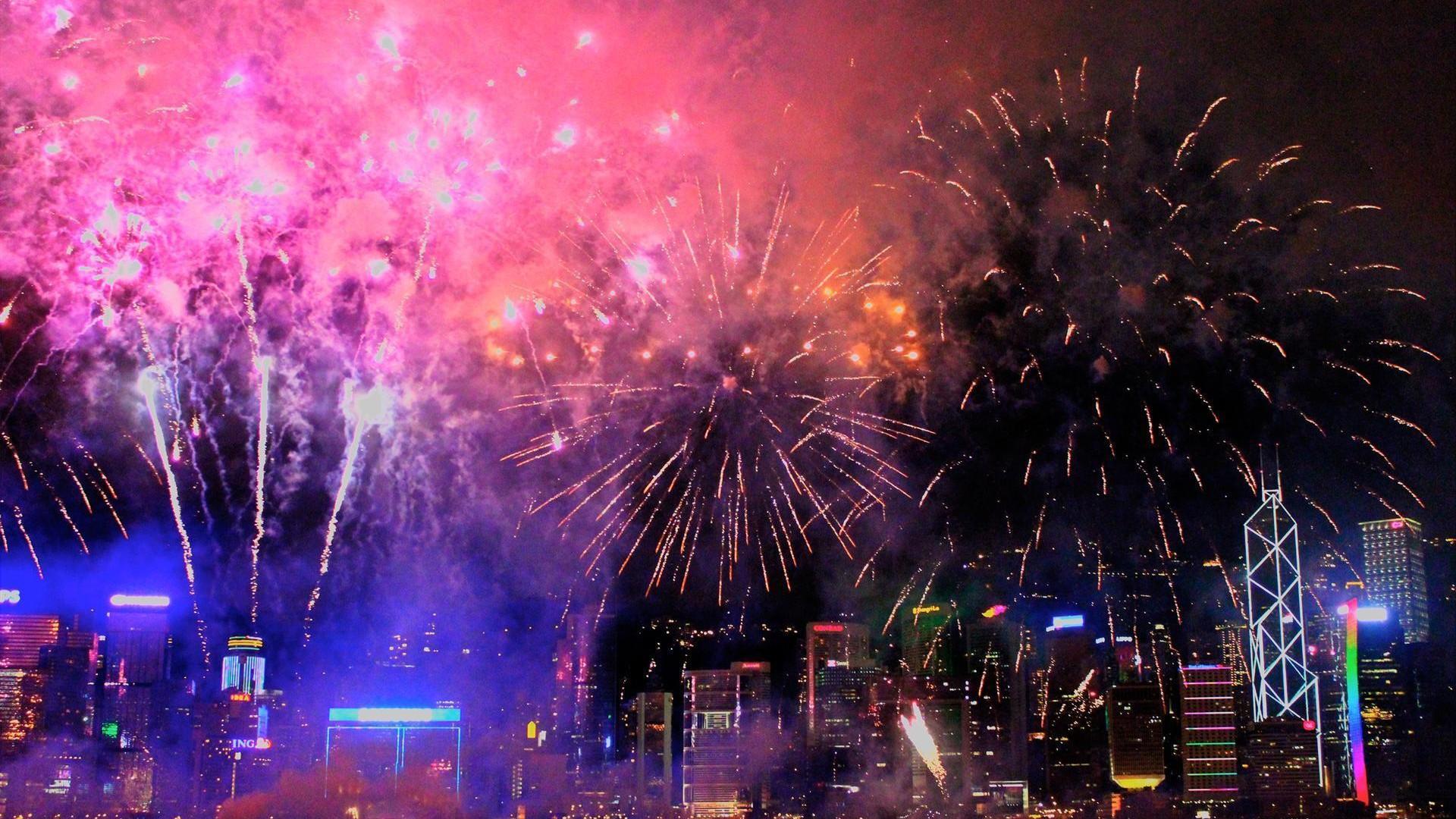 city firework display hd wallpaper