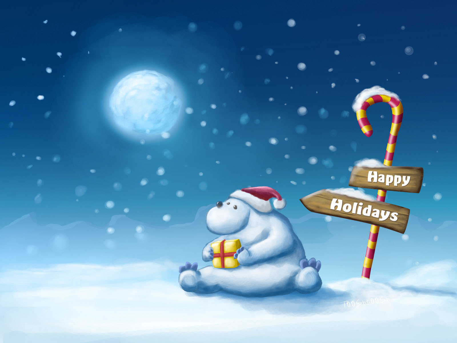 Happy Christmas Bear Wallpaper