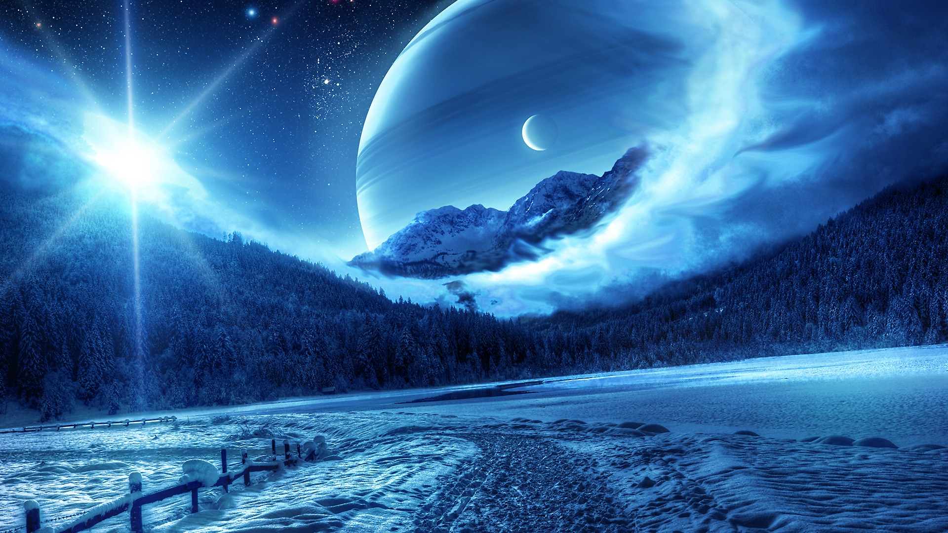 Blue Snowcapped Serenity Wallpaper