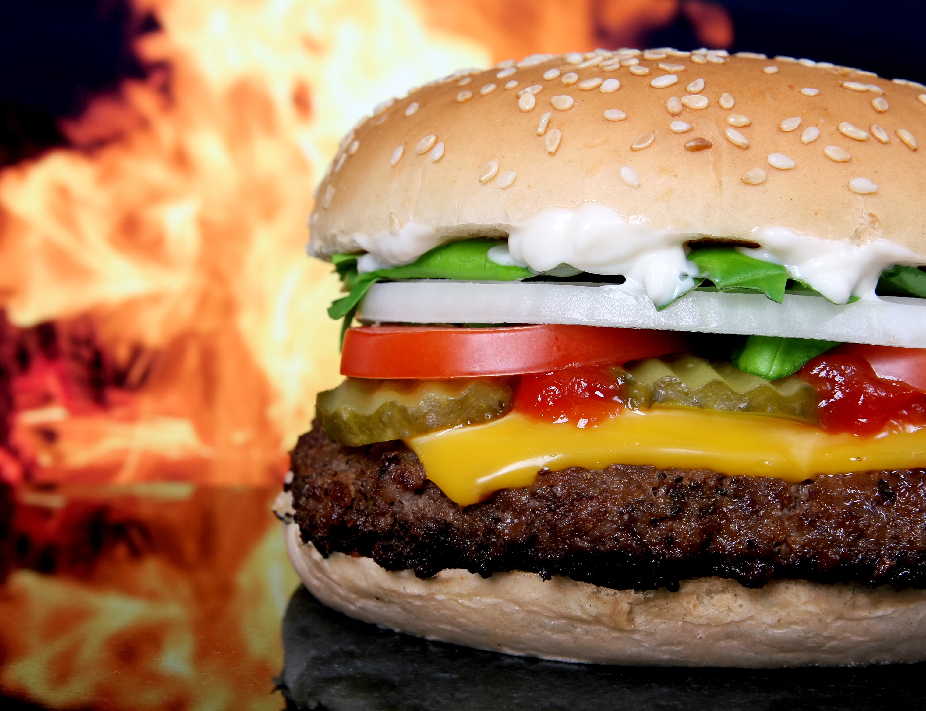 Delicious HD Flaming Cheeseburger