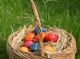 Basket Full of Easter Eggs Wallpaper