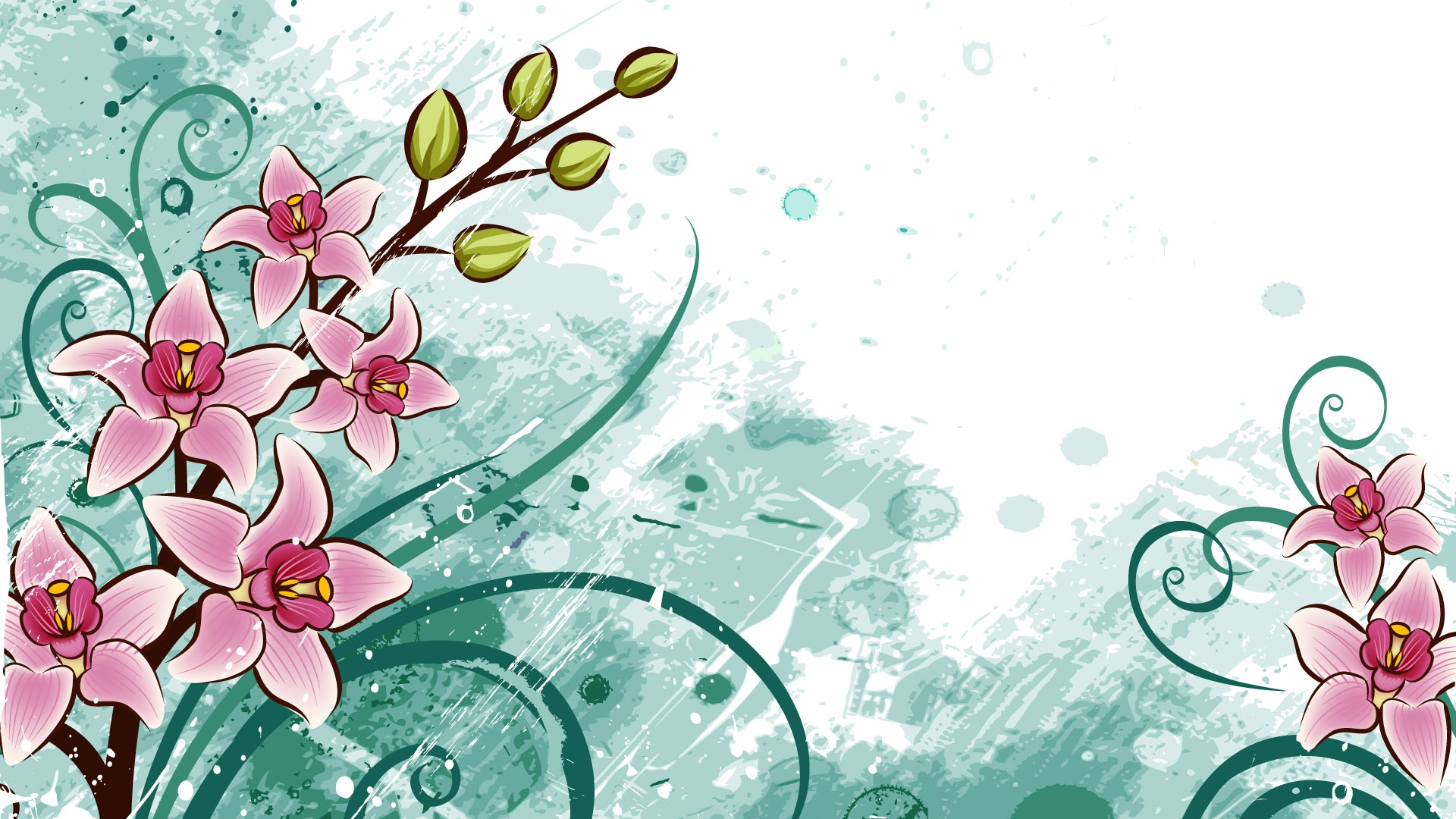Floral cartoon wallpaper