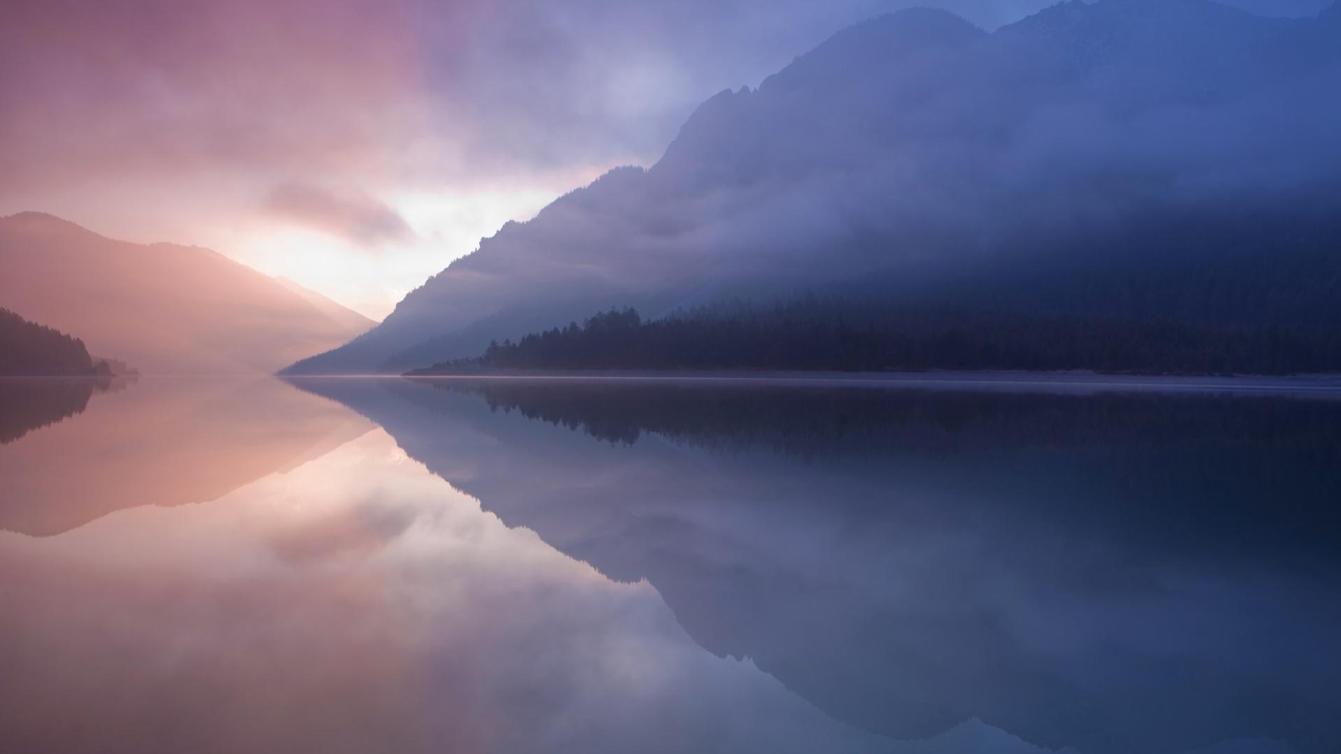 Misted lake