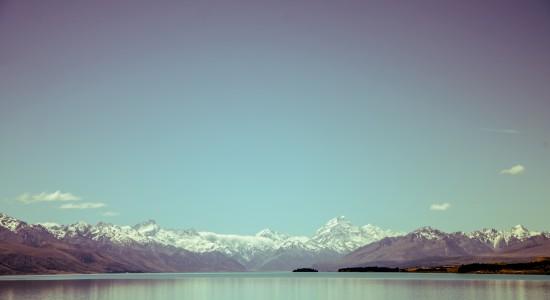 Blue-Sky-Snowy-Mountains