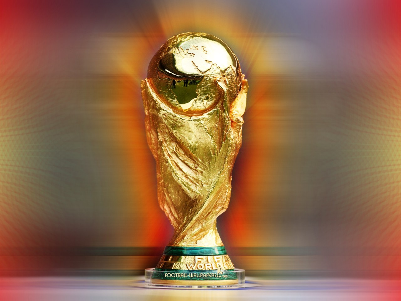 Red Glow World Cup Trophy High Resolution Wallpaper