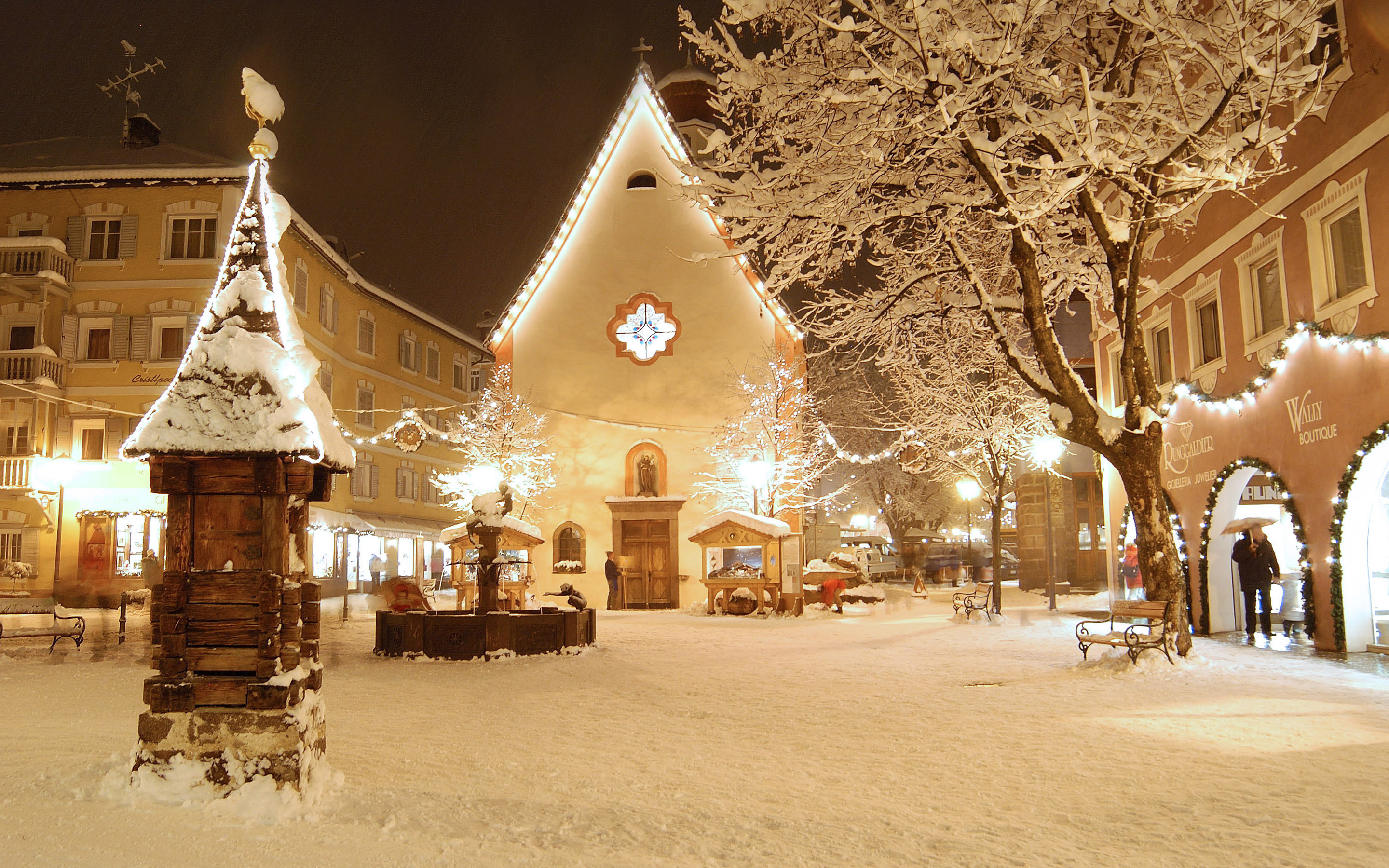 snow filled town centre - hd wallpapers