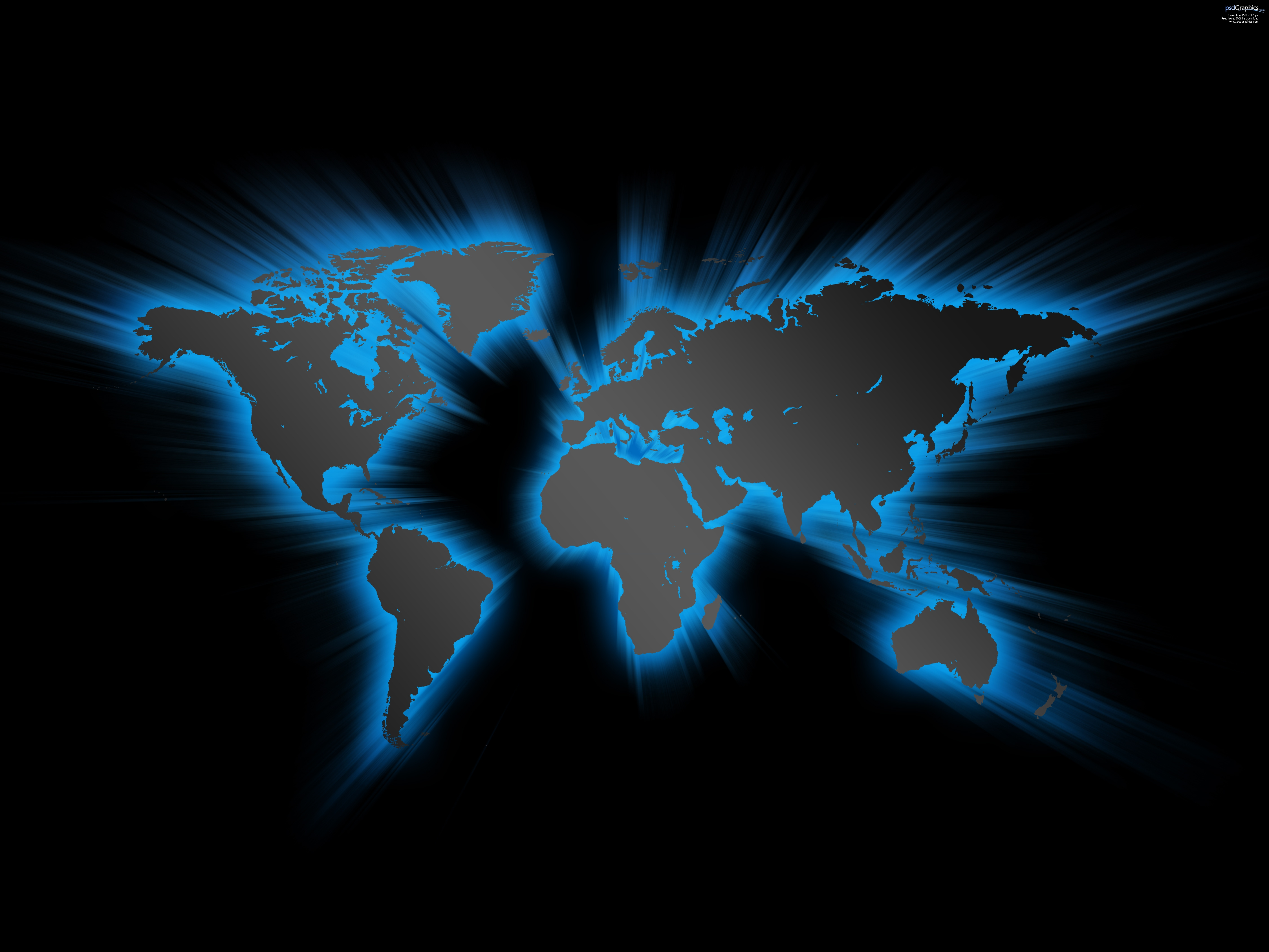 Blue Effect World Map Hd Wallpapers