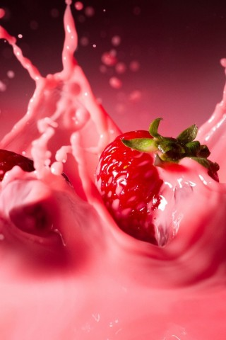 Pink Strawberry Splash Wallpaper IPhone