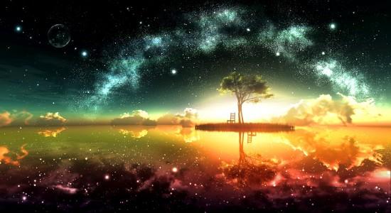 Space Ocean HD Desktop Background