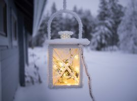 Cozy Lamp in Snow Wallpaper