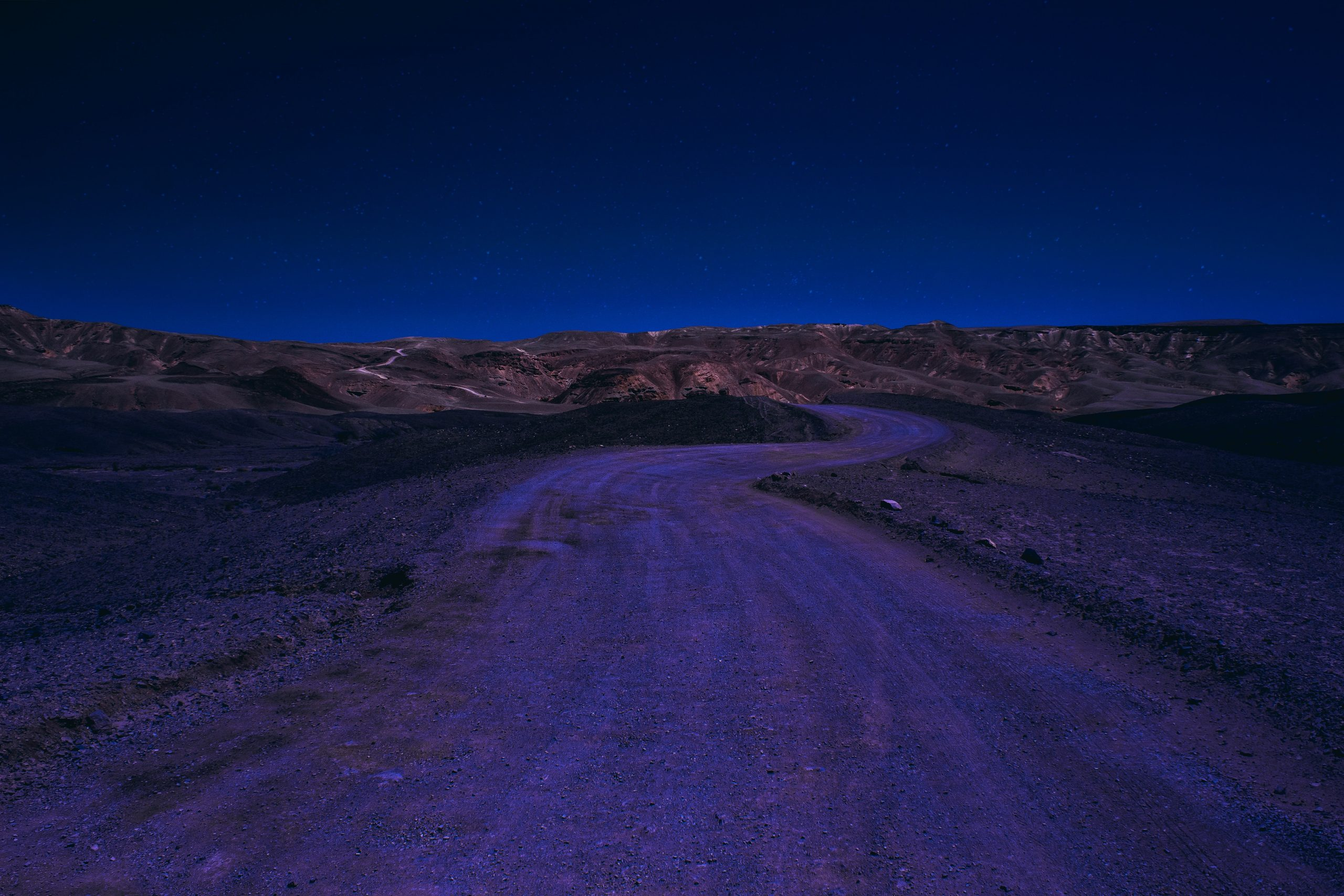 Desert Road at Night Wallpaper